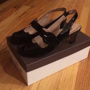 Anyi Lu black patent sandals